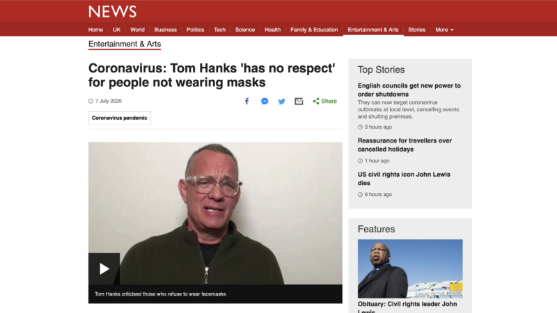 Tom Hanks has no respect for people that don't want to wear face masks to stop the spread of Covid 19